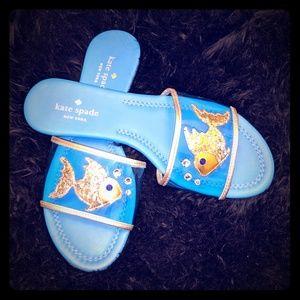 "Kate Spade ""Tara"" blue fish sandals EXCELLENT"